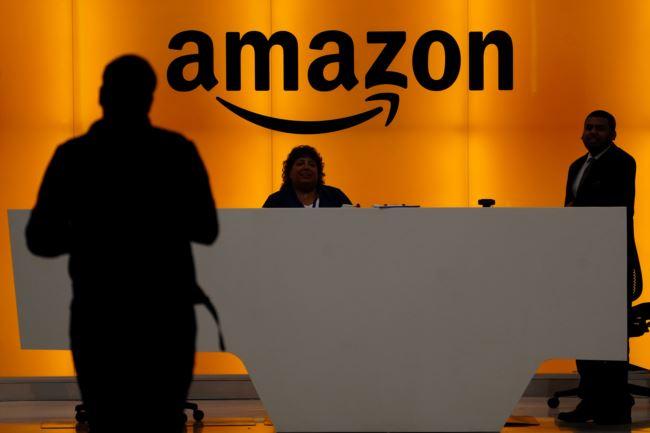 亚马逊公司位于纽约曼哈顿办公室的前台(2019年5月1日)。