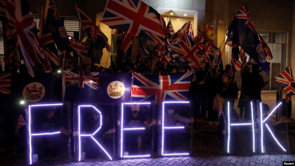 香港反政府示威者2019年10月23日到英国驻港领事馆前集会(路透社)