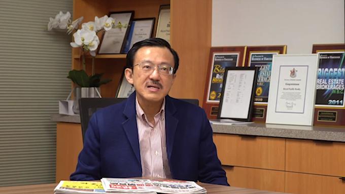 全加华人联会主席蔡宏安拍视频支持国安法 (全加华人联会脸书截图)
