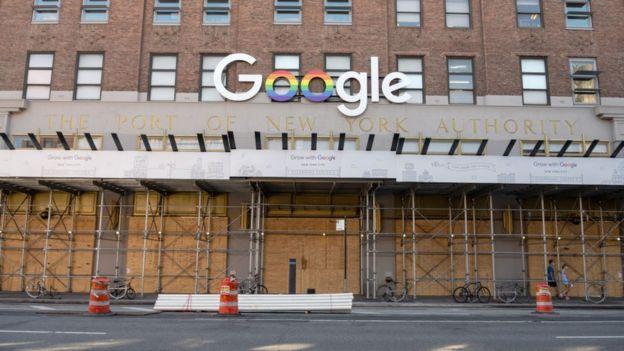 被木板围封的谷歌纽约办公大楼(21/6/2020)