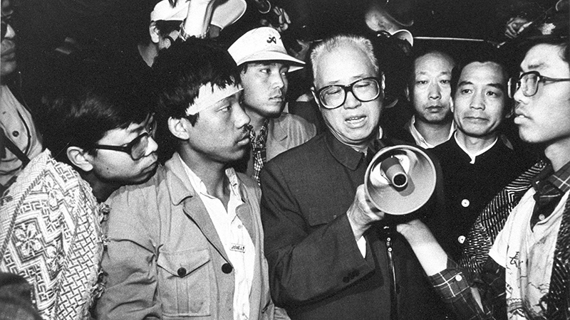 资料图片:1989年5月19日,中共总书记赵紫阳在北京天安门广场。(美联社)