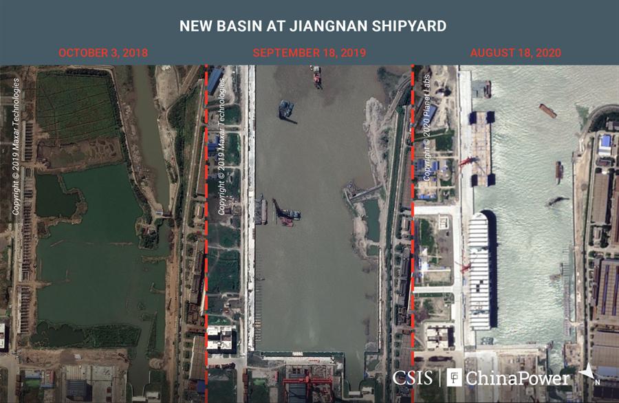 上海长江边上的江南造船厂的大型船坞与各种军舰专用设施迅速扩大,但目前照片上还看不出有建造第4艘航母的迹象。图为新建大型船坞。(图/CSIS)