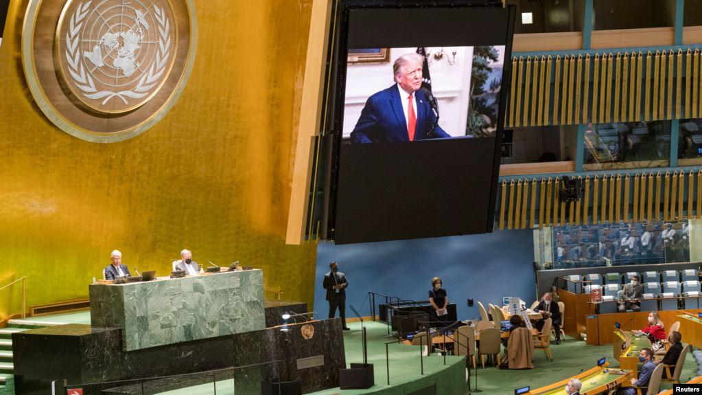 美国总统唐ço3德·ç‰1朗普在第75届联合国大会上发表è®2èˉ