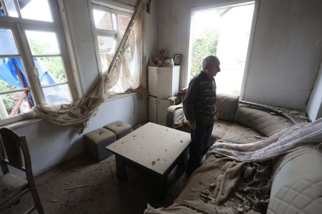Shelling has caused damage to homes in the city of Martuni