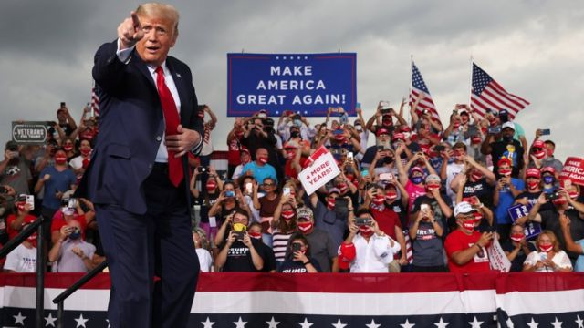 President Donald Trump holds a campaign event at Smith Reynolds Regional Airport in Winston-Salem September 2020