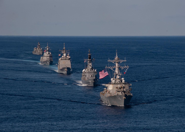 美軍出動雷根號(CVN 76)航空母艦打擊群參與「利劍軍演」(Keen Sword 21)。圖:翻攝自USS Ronald Reagan臉書