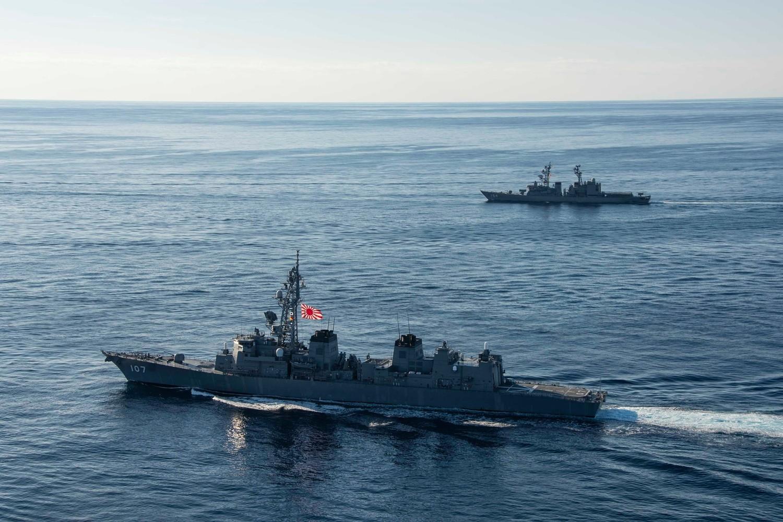 日本派出海上自衛隊第一、第四護衛隊群。圖:翻攝自USS Ronald Reagan臉書