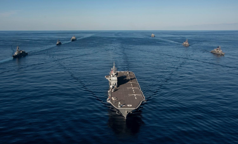 加拿大皇家海軍出動護衛艦「溫尼伯號」(HMCS Winnipeg)參與軍演。圖:翻攝自USS Ronald Reagan臉書