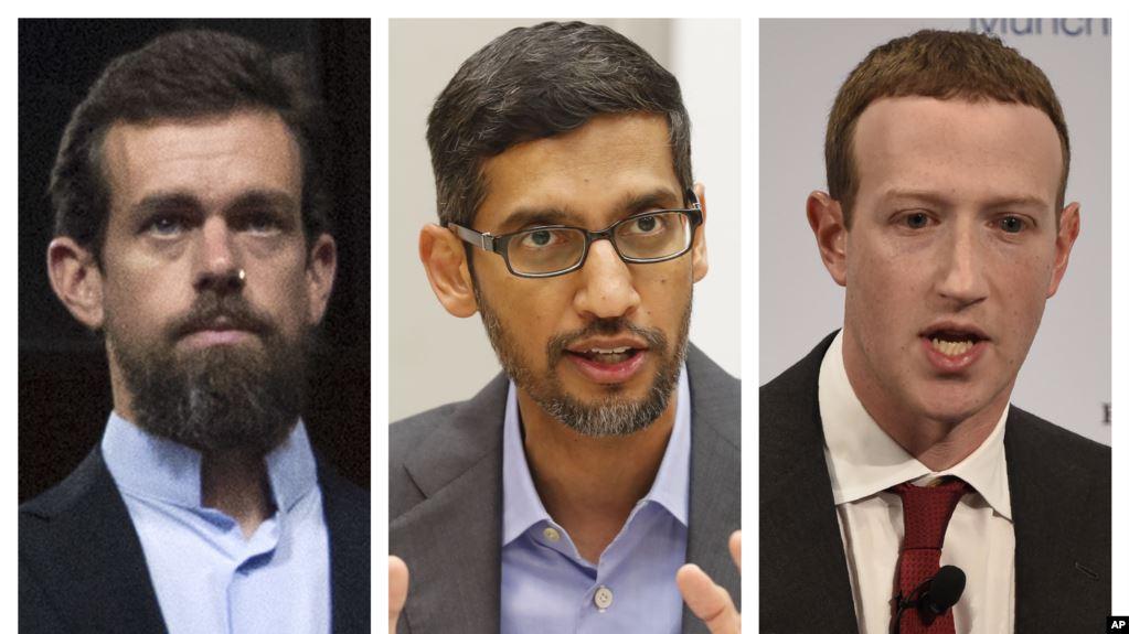 硅谷互联网巨头左起:推特首席执行官多西,谷歌首席执行官皮查伊,脸书首席执行官扎克伯格