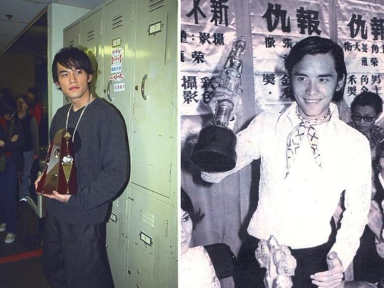 周杰伦(左图)和姜大卫(右图)早期照片神韵相似。资料照片