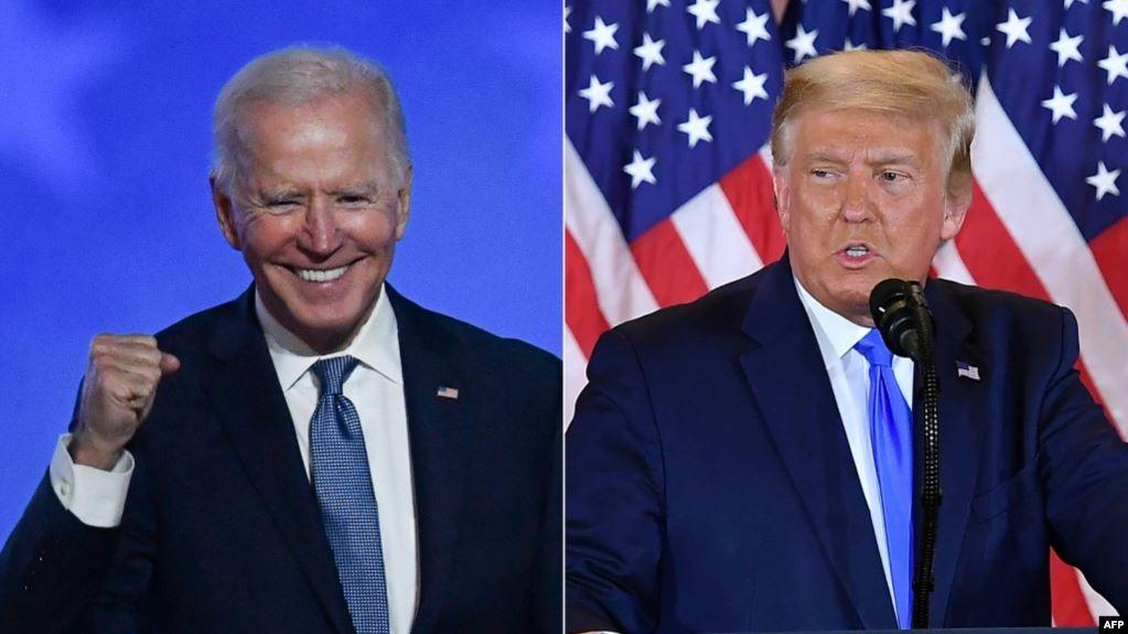 美国共和党候选人特朗普(右)和民主党总统候选人拜登分别在选举日之夜。(2020年11月3日)