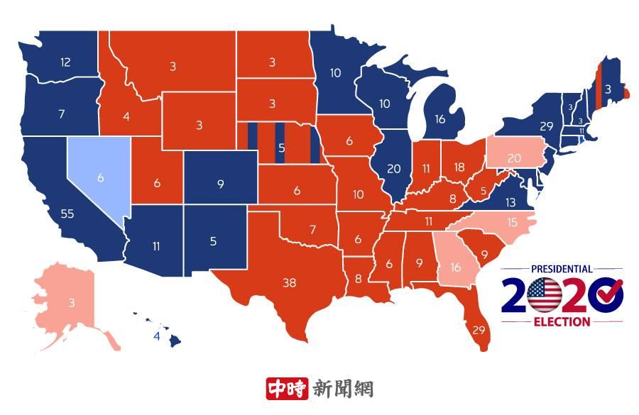 美总统大选各州开票进度。(製图:陈友龄)