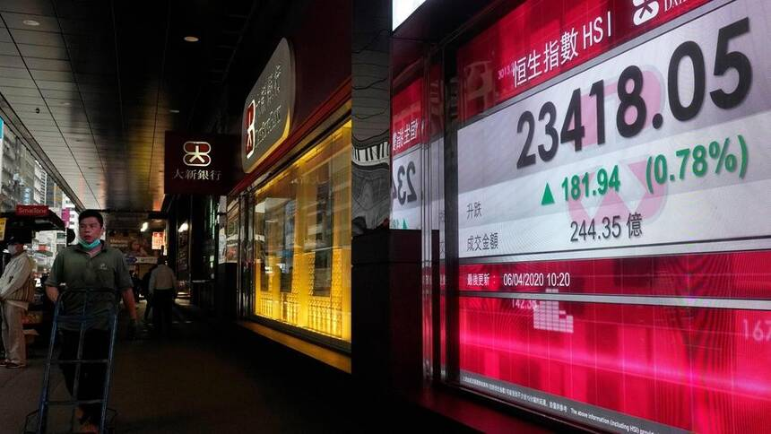 香港股市,美联社图片。