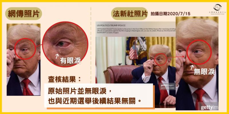 網傳照片中川普的眼淚及變紅的眼白皆是後製上去的,原始圖片並沒有。(圖取自「台灣事實查核中心」)