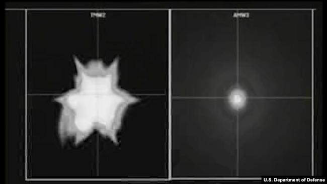 一枚标准-3型第二批次A款导弹(SM-3 Block IIA)击毁模仿洲际弹道导弹的目标导弹的瞬间 (美国导弹防御局)