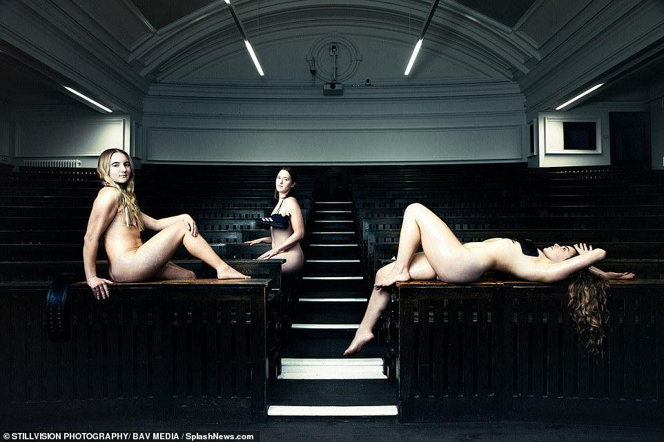 These female students posed for their photo in one of Cambridge University's lecture theatres