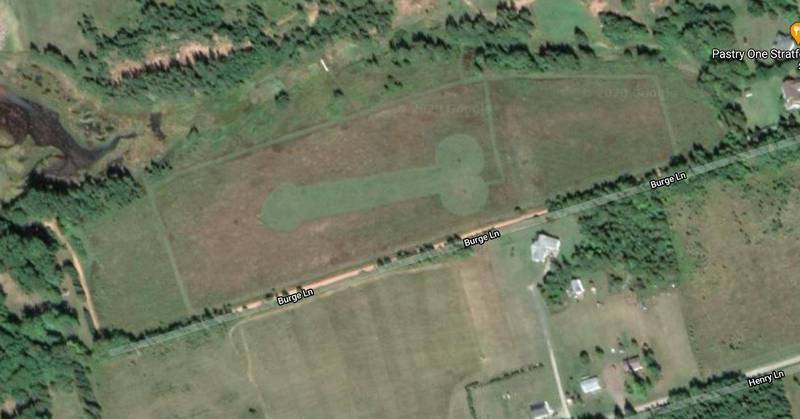 加拿大農田被發現出現「陽具麥田圈」,經證實是1名當地農夫所為。(圖取自Google地圖)