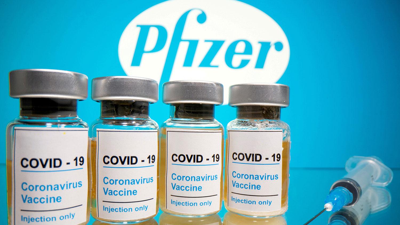 美国辉瑞制药公司(Pfizer)研制的新冠病毒疫苗(路透社)
