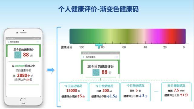 在官方提供的示意图中,个人的评分通过不同的颜色呈现。