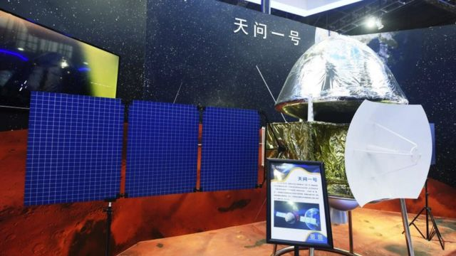 SEPTEMBER 15: The model of the Mars probe Tianwen-1 on display during 2020 China International Industry Fair.