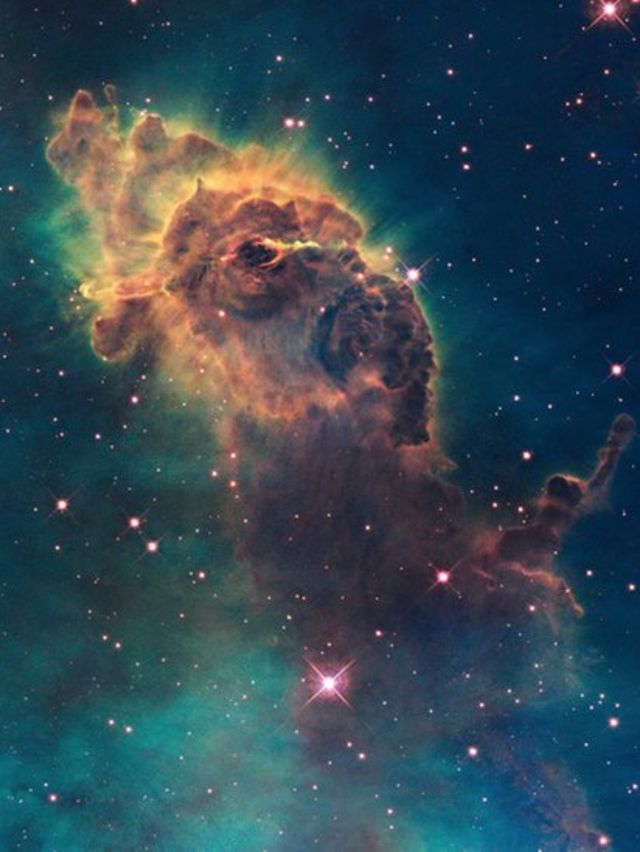 A stellar jet in the Carina Nebula is pictured in space by the Hubble telescope in 2009