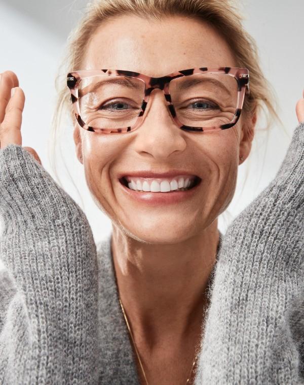 粉玳瑁色方形款眼镜