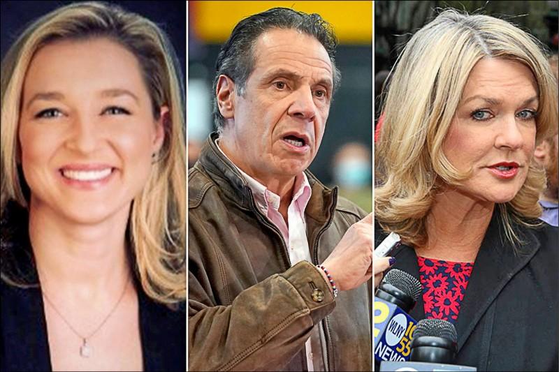 美國紐約州州長古莫(中)再遭兩名前幕僚里絲(左)和辛頓(右)指控性騷擾。(取自網路)