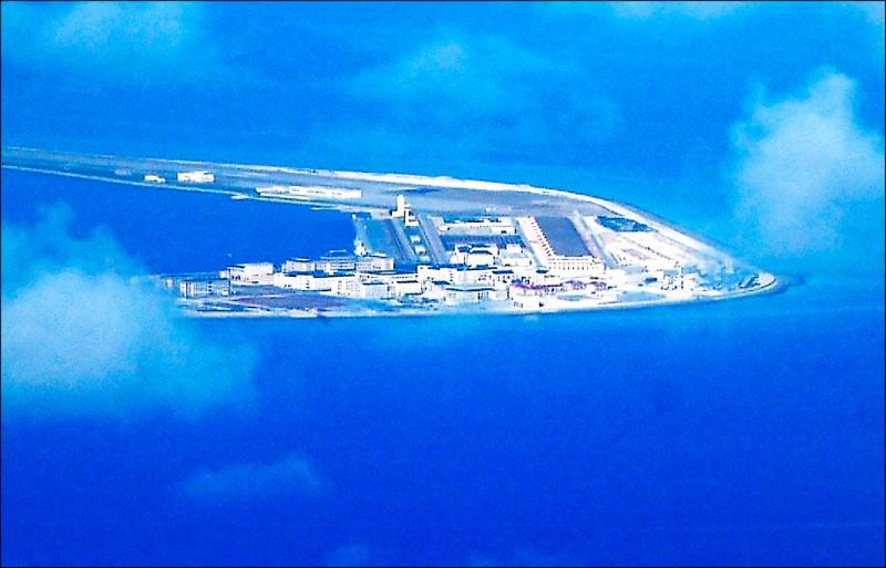 菲律賓軍機二○一七年四月拍攝的空照圖。(法新社檔案照)