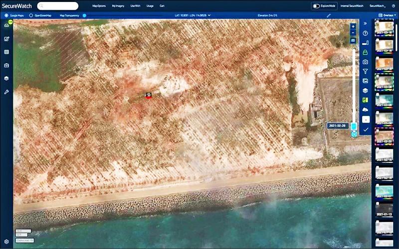 美國太空技術公司「Maxar Technologies」先前拍到南沙群島渚碧礁樣貌。(取自網路)