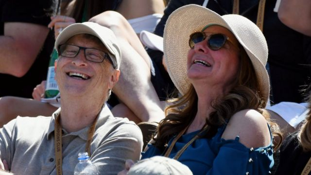 Businessman and philanthropist Bill Gates and his wife Melinda Gates having fun in the stands during a tennis match between Hubert Hurkacz (Poland) and Roger Federer (Switzerland) during the BNP Paribas Open on March 15, 2019