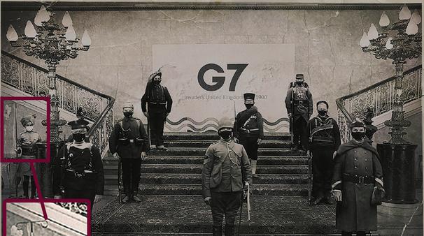 """中国""""战狼画手""""恶搞G7合照"""