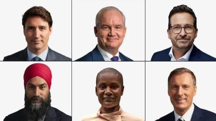 加拿大联邦大选中的六位政党领袖。上排从左至右:自由党领袖贾斯汀·特鲁多、保守党领袖艾林·奥图尔、魁北克党团领袖伊夫-弗朗索瓦·布兰切特 。下排从左至右:新民主党领袖贾格米特·辛格、绿党领袖安娜米·保罗 、以及人民党领袖马克西姆·贝涅尔。