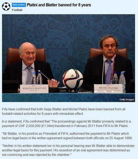 国际足联:普拉蒂尼和布拉特禁足八年