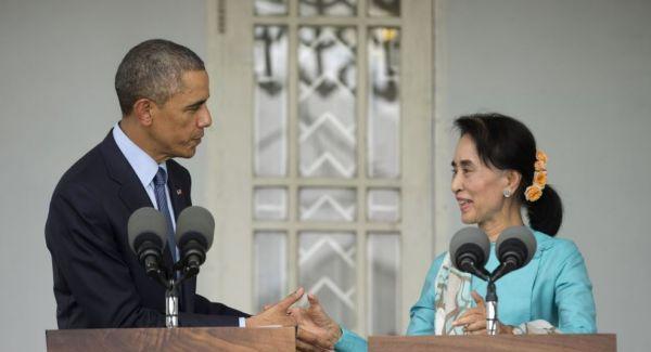 奥巴马晤昂山素季 承诺将解除对缅制裁