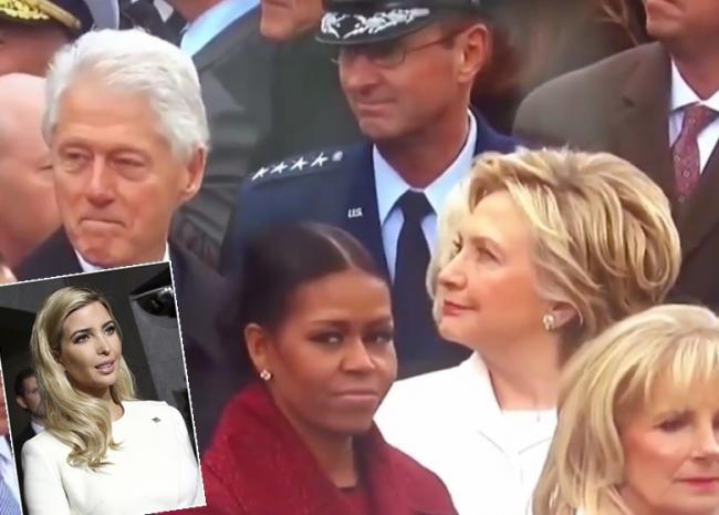 克林顿一直盯着伊万卡 遭希拉里怒视