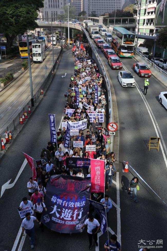 3500香港市民撑警大游行