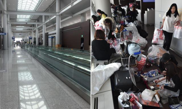 中国赴韩国游客减少 韩国仁川机场显空旷