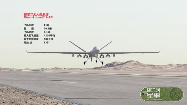 翼龙2可携带12枚导弹 性能接近美军MQ-9