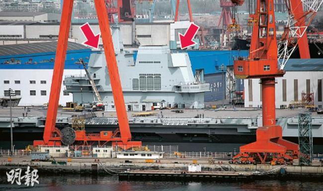 雷达已装 线缆未铺完 中国航母料难下水