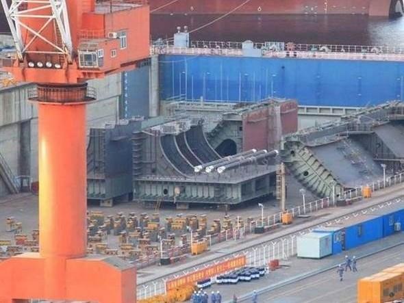 第4艘航母开建?船厂惊现疑似新航母分段