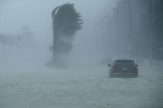 飓风厄玛袭佛州 强风暴雨中两车对撞