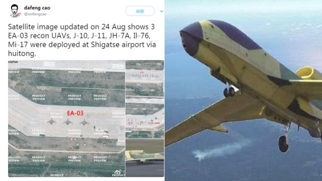 西藏机场泊满军机 距离洞朗250km