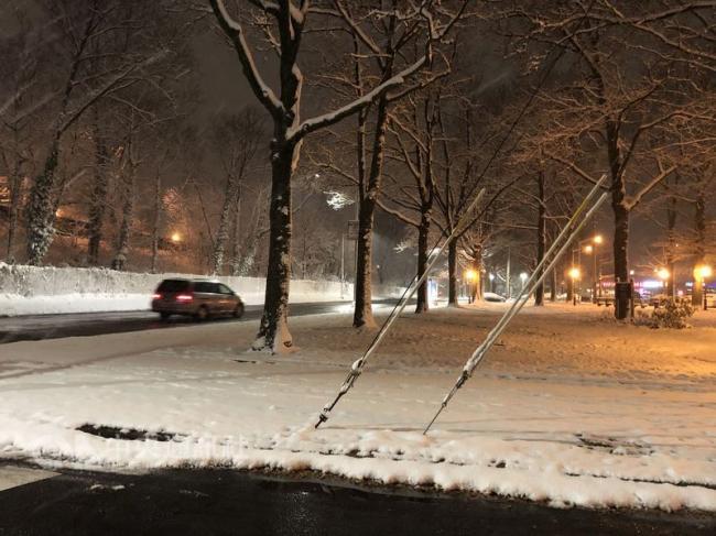 纽约入冬首场雨雪 增添白色圣诞氛围