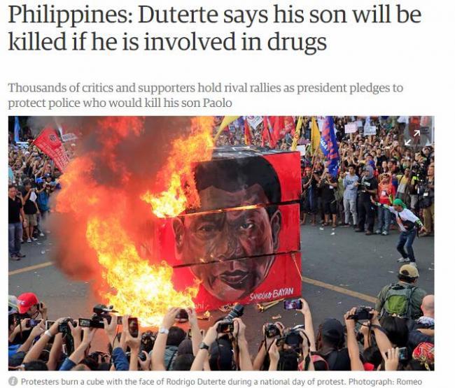 涉嫌从中国运毒  杜特尔特接受儿子辞呈