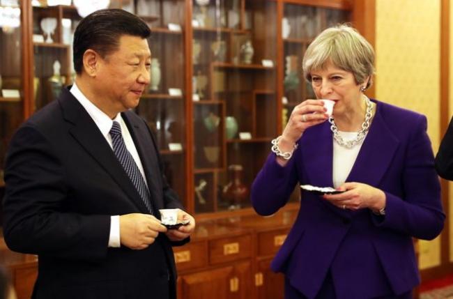 梅姨与习近平在北京品茶聊天 好不悠哉