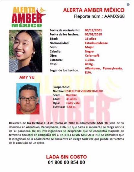 宾州16岁华裔少女失踪 墨西哥发安珀警报
