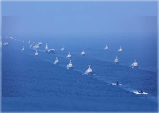 习近平南海阅兵 史上最大 军舰密密麻麻