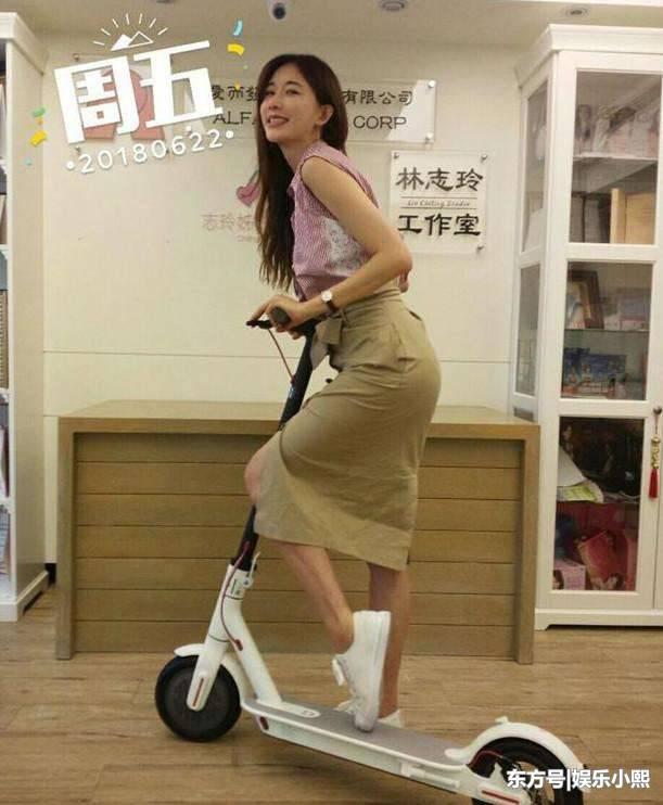 林志玲骑滑板大胆翘臀 那双大黑腿抢镜