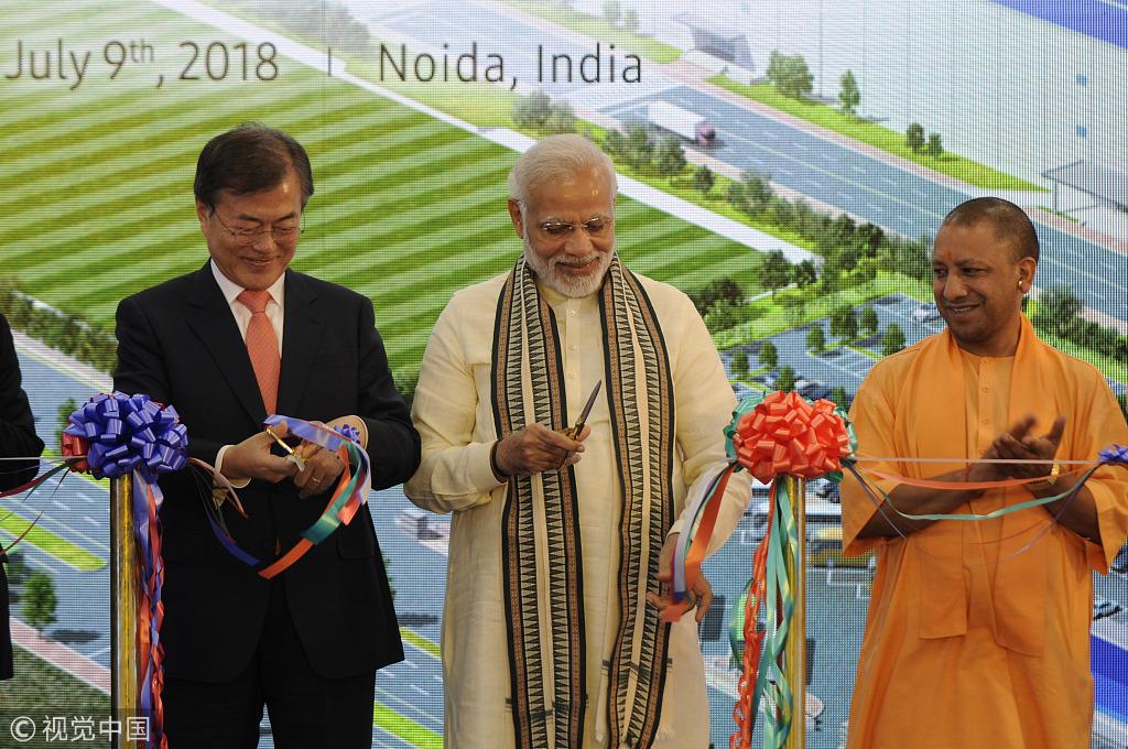 三星在印度建世界最大手机厂 莫迪文在寅揭幕