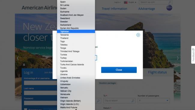 """美国航空公司网站 """"台湾""""选项已不见"""